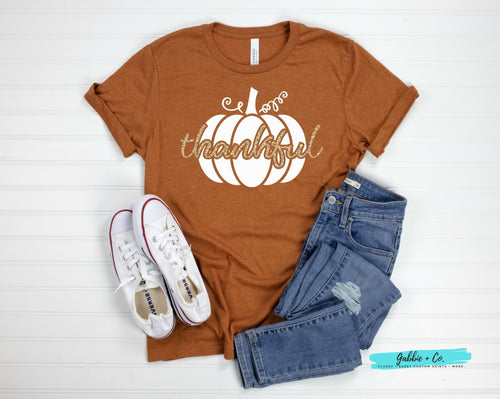 Thankful Glitter Pumpkin T-Shirt