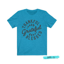 Load image into Gallery viewer, Thankful Grateful Blessed Heather Aqua / Xs T-Shirt