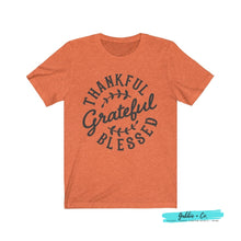 Load image into Gallery viewer, Thankful Grateful Blessed Heather Orange / L T-Shirt