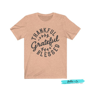 Thankful Grateful Blessed Heather Peach / Xs T-Shirt