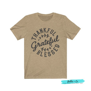 Thankful Grateful Blessed Heather Tan / Xs T-Shirt