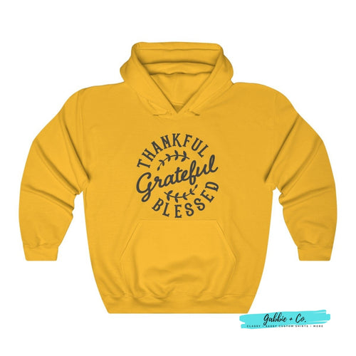 Thankful Grateful Blessed Unisex Hoodie Gold / L
