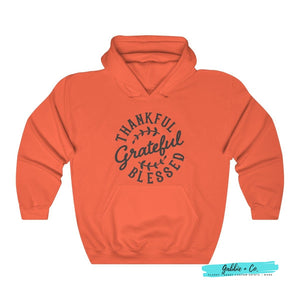 Thankful Grateful Blessed Unisex Hoodie Orange / S