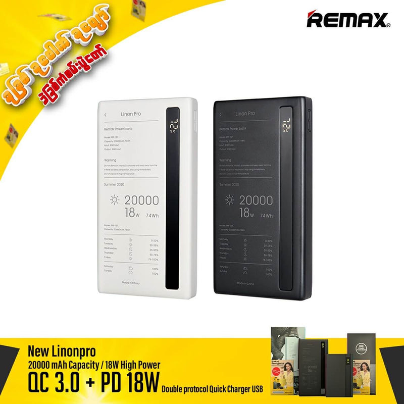 Remax New 20000 mAh Lion Pro Power BankPro RPP 157 With QC+PD Fast Charging