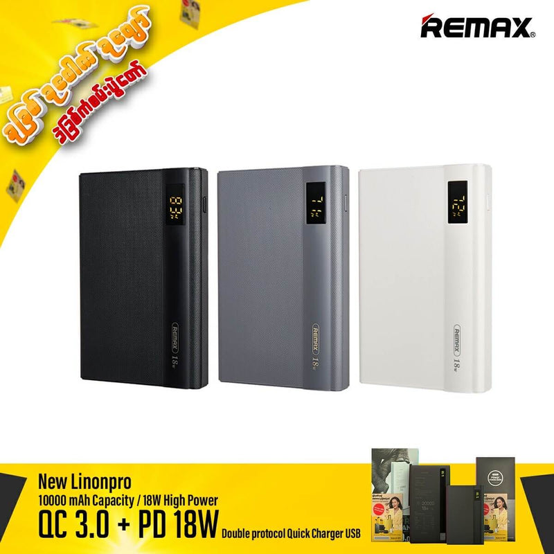 Remax New 10000 mAh Lion Pro Power BankPro RPP 156 With QC+PD Fast Charging