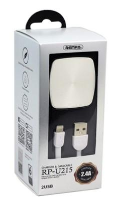 REMAX 2.4 A Dual USB Charger & Data Cable For Lightning RP-U215 (4518908395638)
