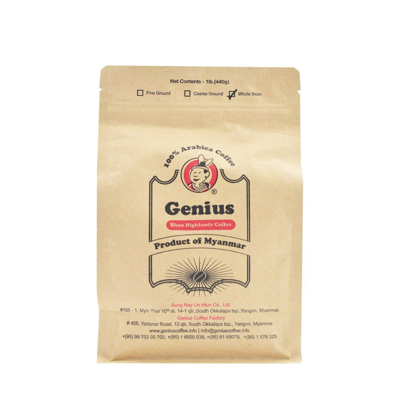 Genius 100 Arabica Coffee 440G Whole Bean