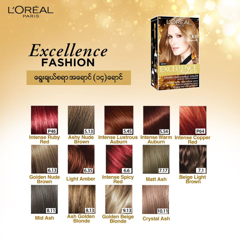 L'Oréal Excellence Fashion Hair Color 8.13 Ash Golden Blonde 172ml