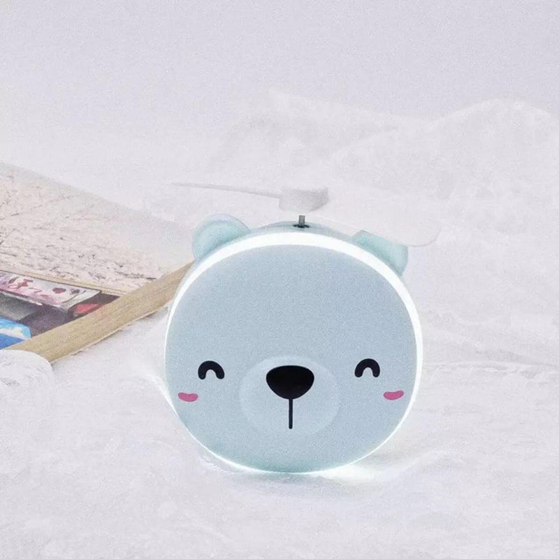 Blue Bear Mini Fan with Make-up Mirror (4488894021750)