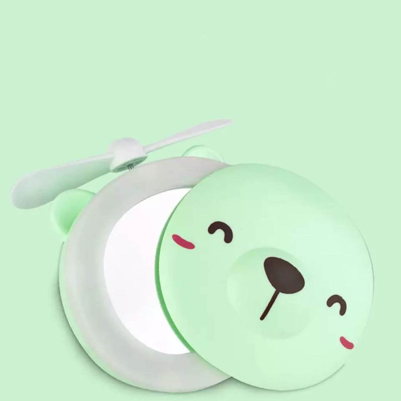 Green Bear Mini Fan with Make-up Mirror (4488894087286)