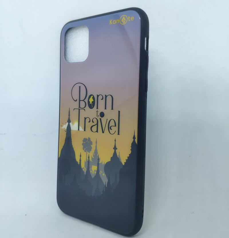 iPhone 11 Pro Max Case (Born to Travel (sunset), Tempered Glass Cover)