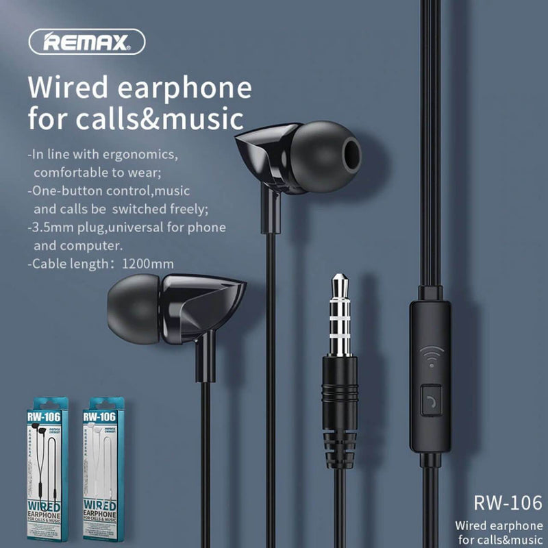 REMAX Wired Earphone For Calls & Music   RW-106 (4488892481654)