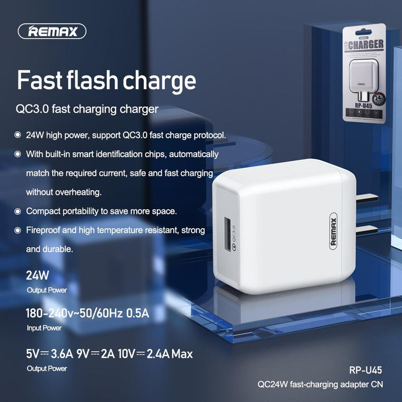 Remax QC3.0 Charger Adapter RP-U45 CN