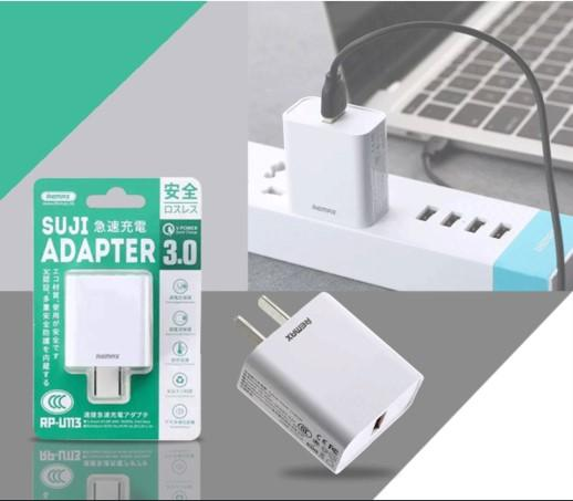 REMAX Suji Series 3.0A Single USB Charger Adaptor RP-U113 (4518898565238)
