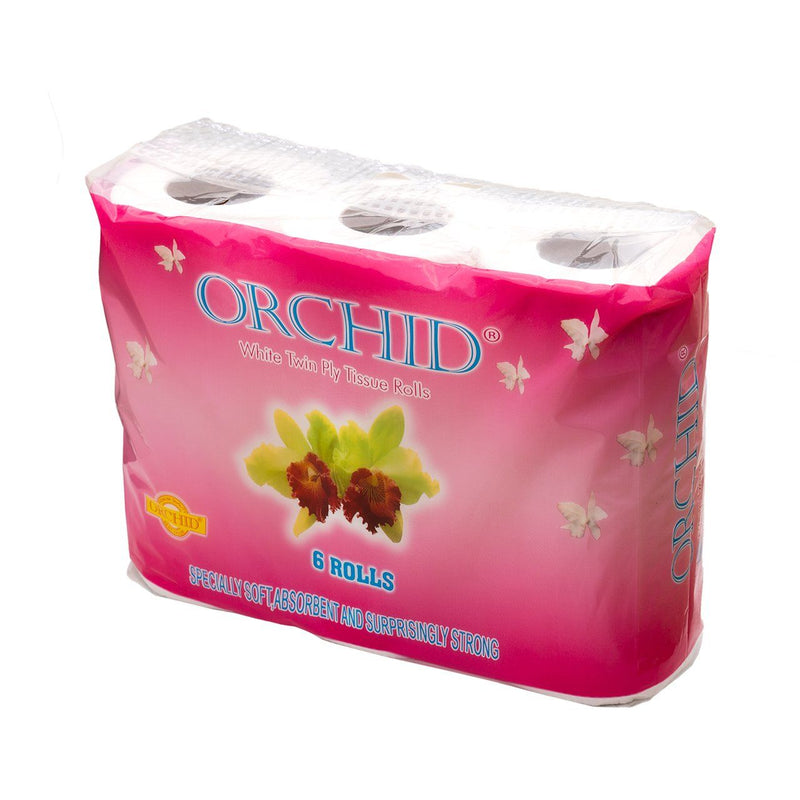 Orchid White Twin Ply Tissue (2 packs of 6 rolls, total 12 rolls) (4473344524406)