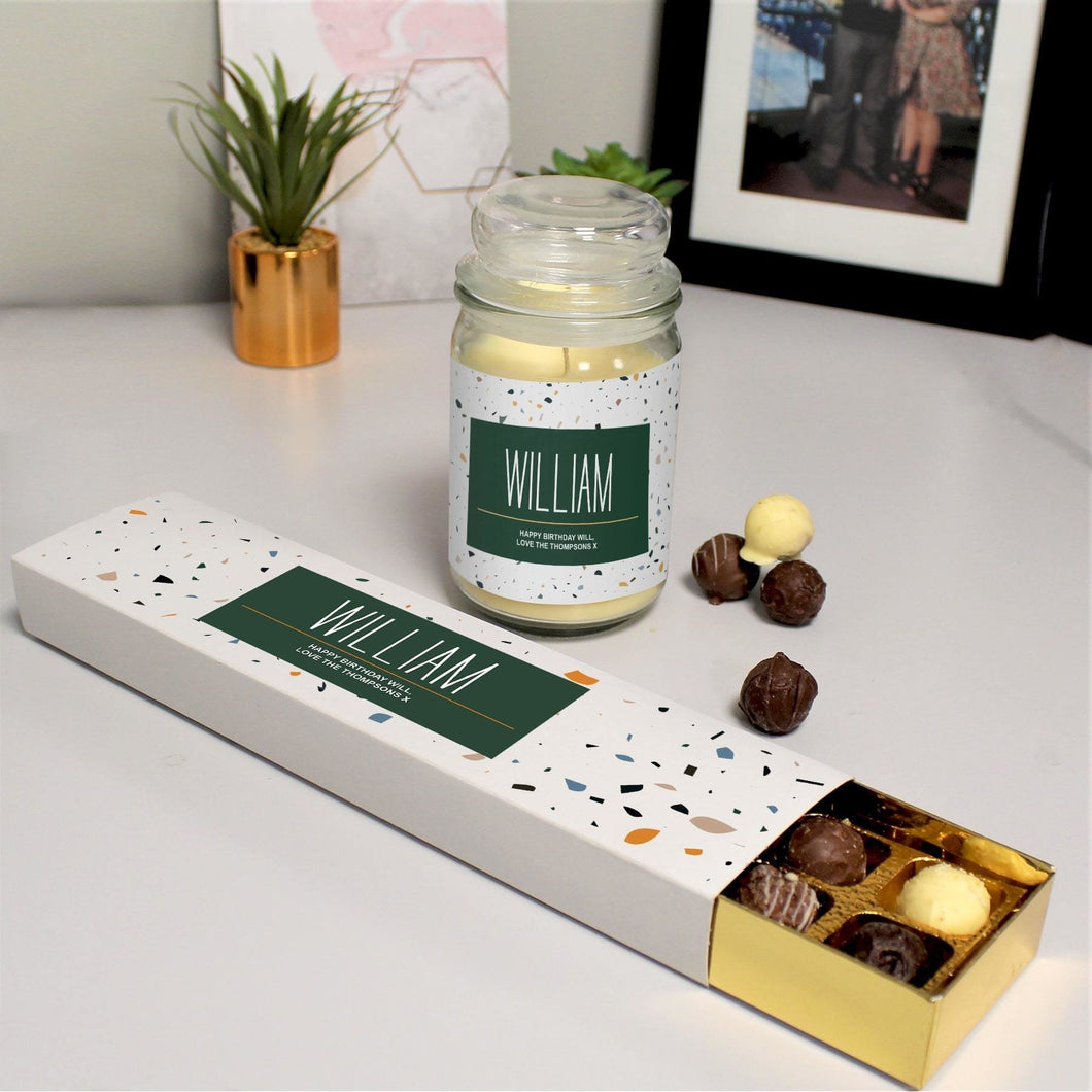 Any Occasion Personalised Candle Jar & Chocolate Truffles Set