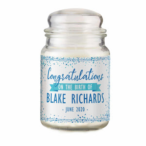 Congratulations on the Birth Personalised Candle Jar