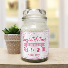 Load image into Gallery viewer, Congratulations on the Birth Personalised Candle Jar