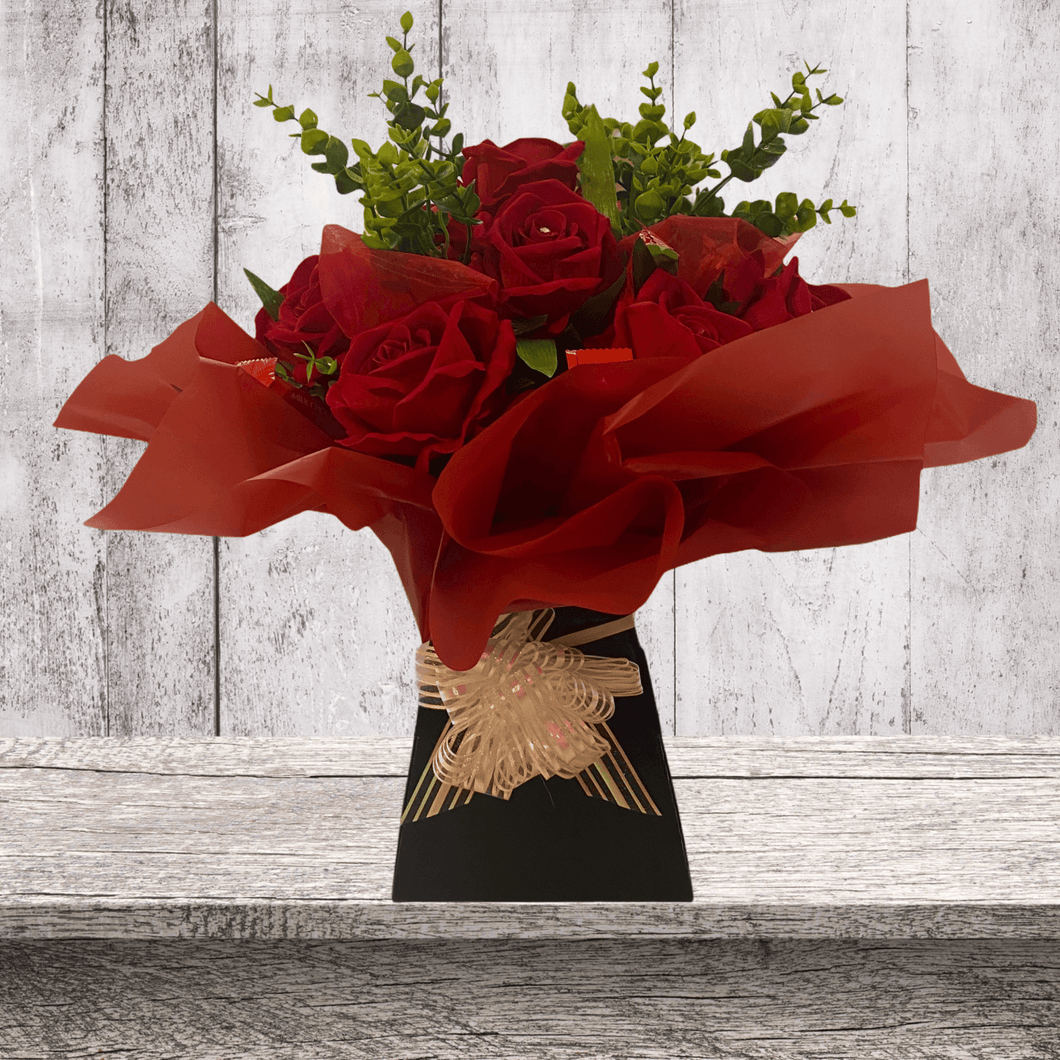 Artificial Red Rose & Chocolate Bouquet