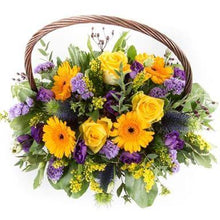 Load image into Gallery viewer, designer choice basket in yellow and lilac.  beautiful all round basket that would make a perfect gift.  free delivery on all our gifts!