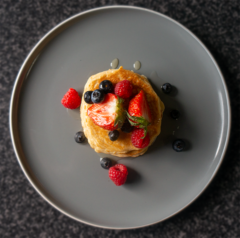 Protein Pancakes Topped With Mixed Berry Fruits