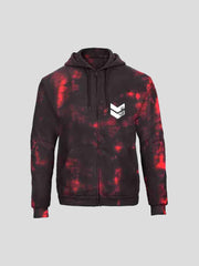 Reading Red & Black Tie Dye Zip Hoodie