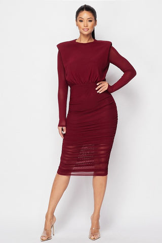 Power Shoulder Wine Dress