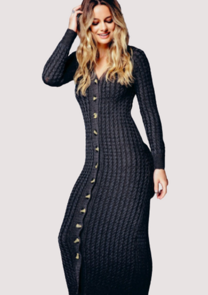 Ribbed Button-Down Sweater Dress