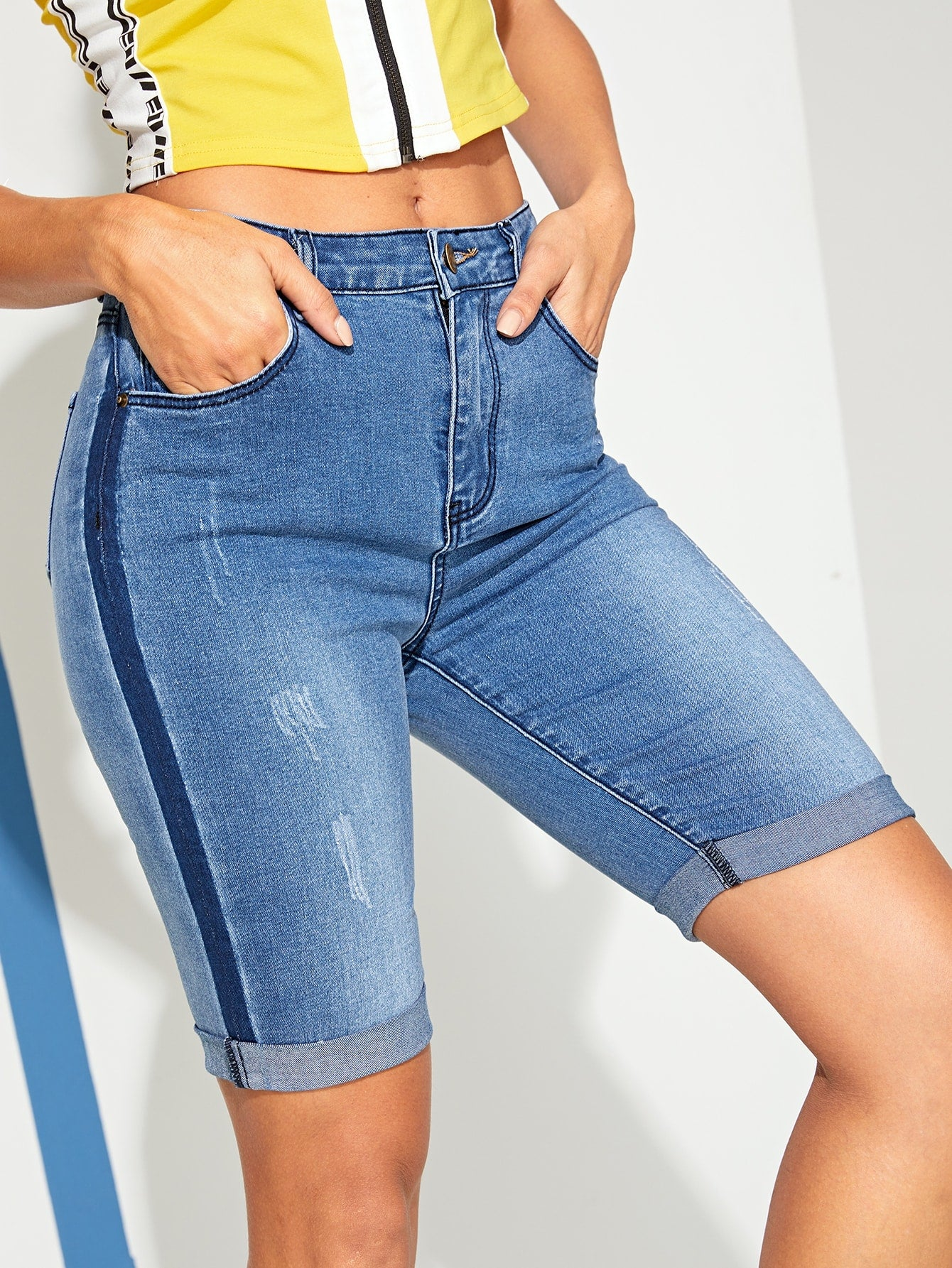 Cuffed Hem Denim Skinny Shorts