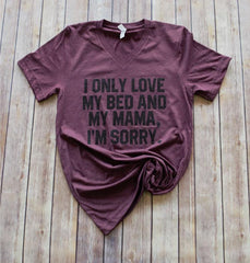 Bed & Mama {Adult} -- Heather Maroon VNECK