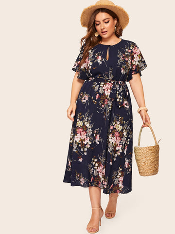 Plus Keyhole Front Floral Print Belted Dress