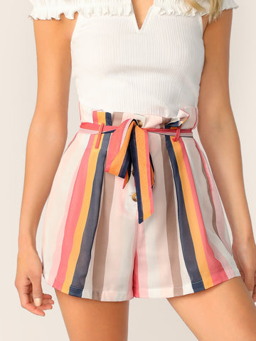 Paperbag Waist Striped Buttoned Fly Shorts
