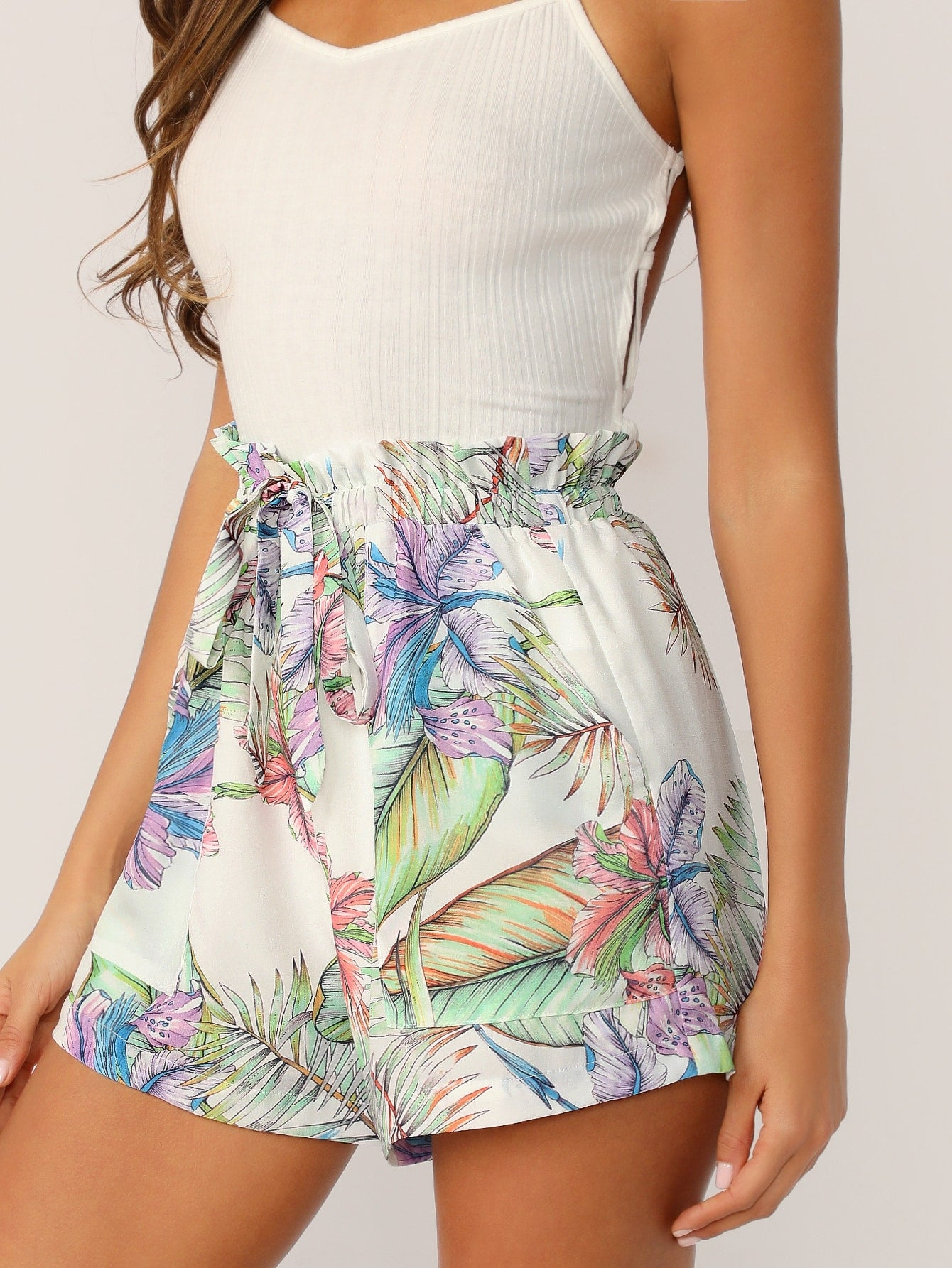 Paperbag Waist Knot Front Tropical Shorts