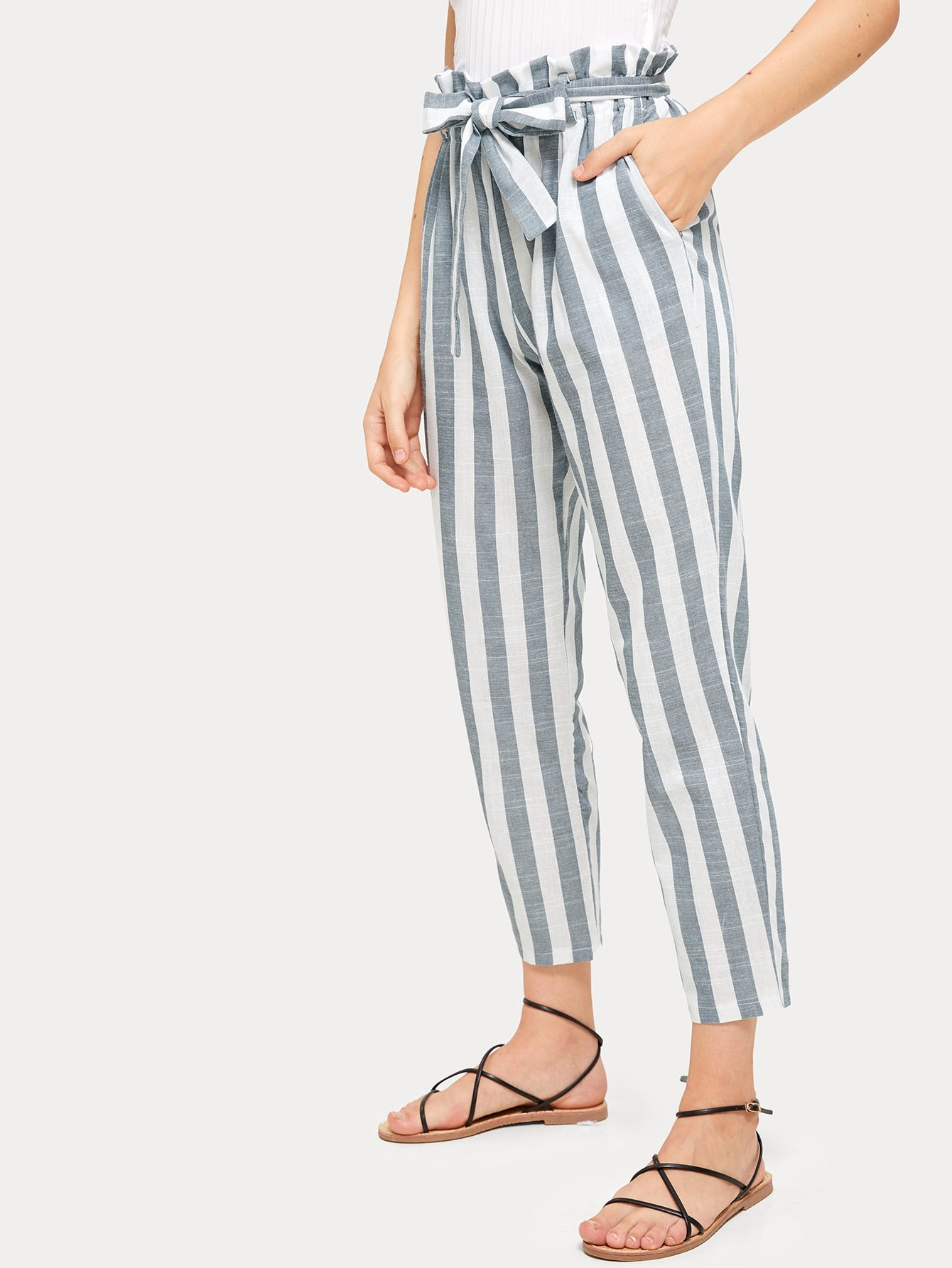 Vertical Striped Paperbag Belted Pants