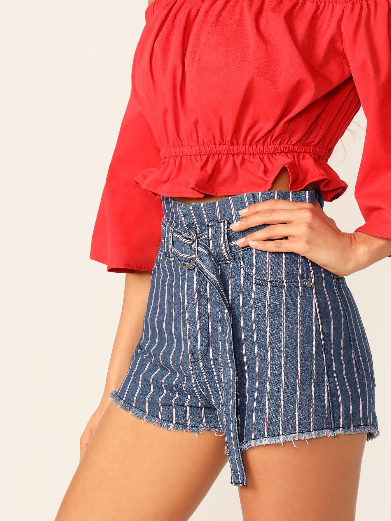 Belted Waist Striped Raw Hem Denim Shorts