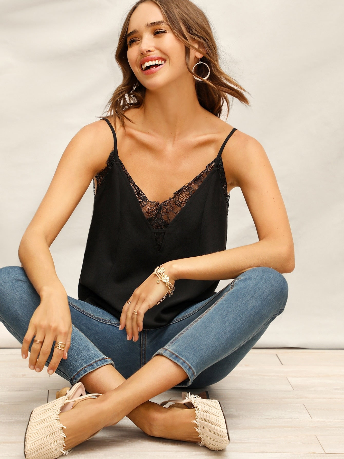 Lace Insert Solid Cami Top