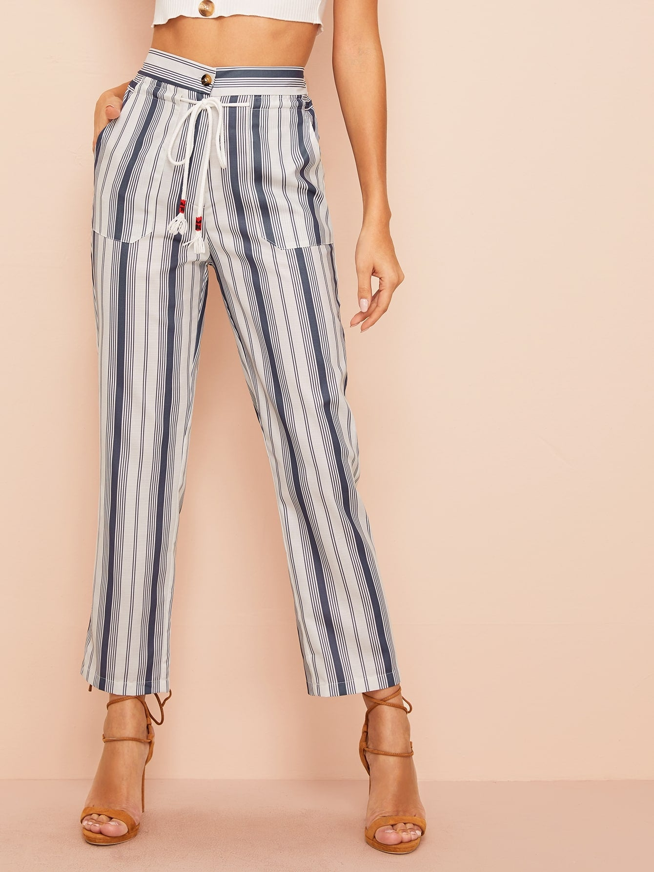 Striped Knot-front Straight Leg Pants