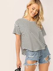 Curved Hem Striped Boxy Tee