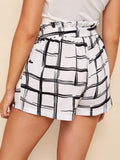 Plaid Belted Paperbag Shorts