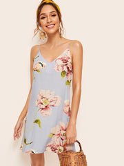 Floral Print Double V Neckline Cami Dress