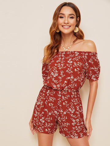 Ditsy Floral Print Off Shoulder Playsuit