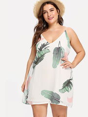 Plus Jungle Leaf Print Cami Dress