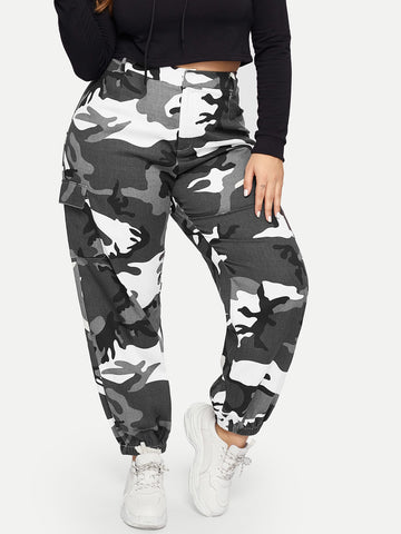 Plus Pocket Side Camo Cargo Pants