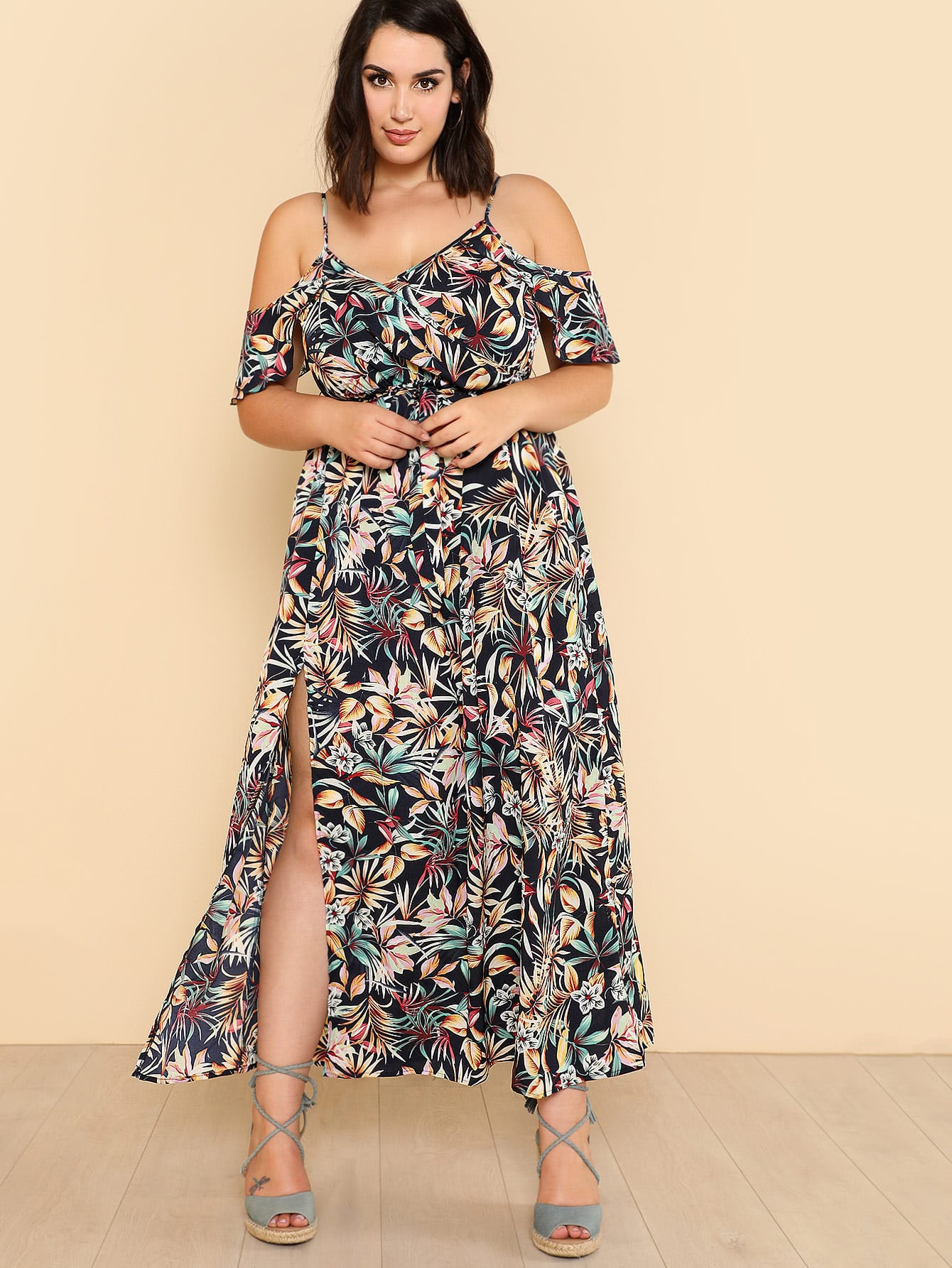 Plus Open Shoulder Tropical Wrap Dress