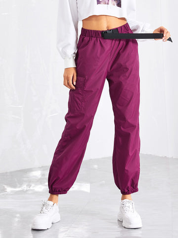 Pocket Side Drawstring Waist Utility Pants