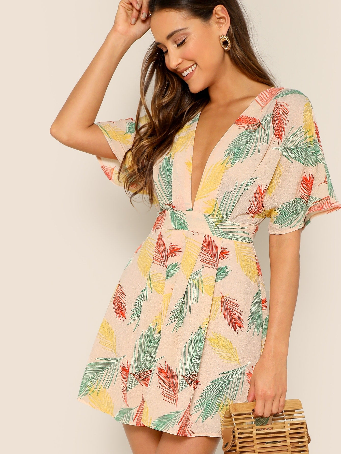 Plunging Tie Open Back Tropical Dress