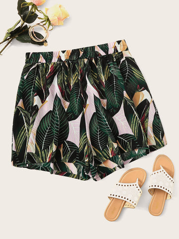Plus Tropical Print Shorts