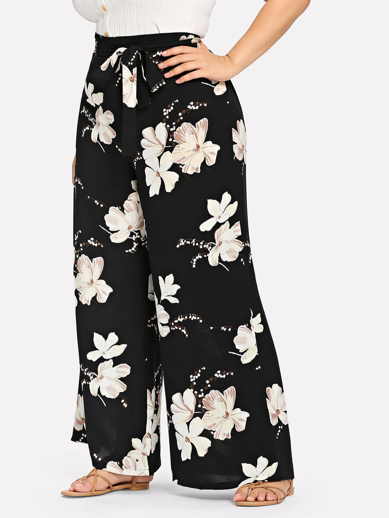 Plus Belted Floral Print Pants