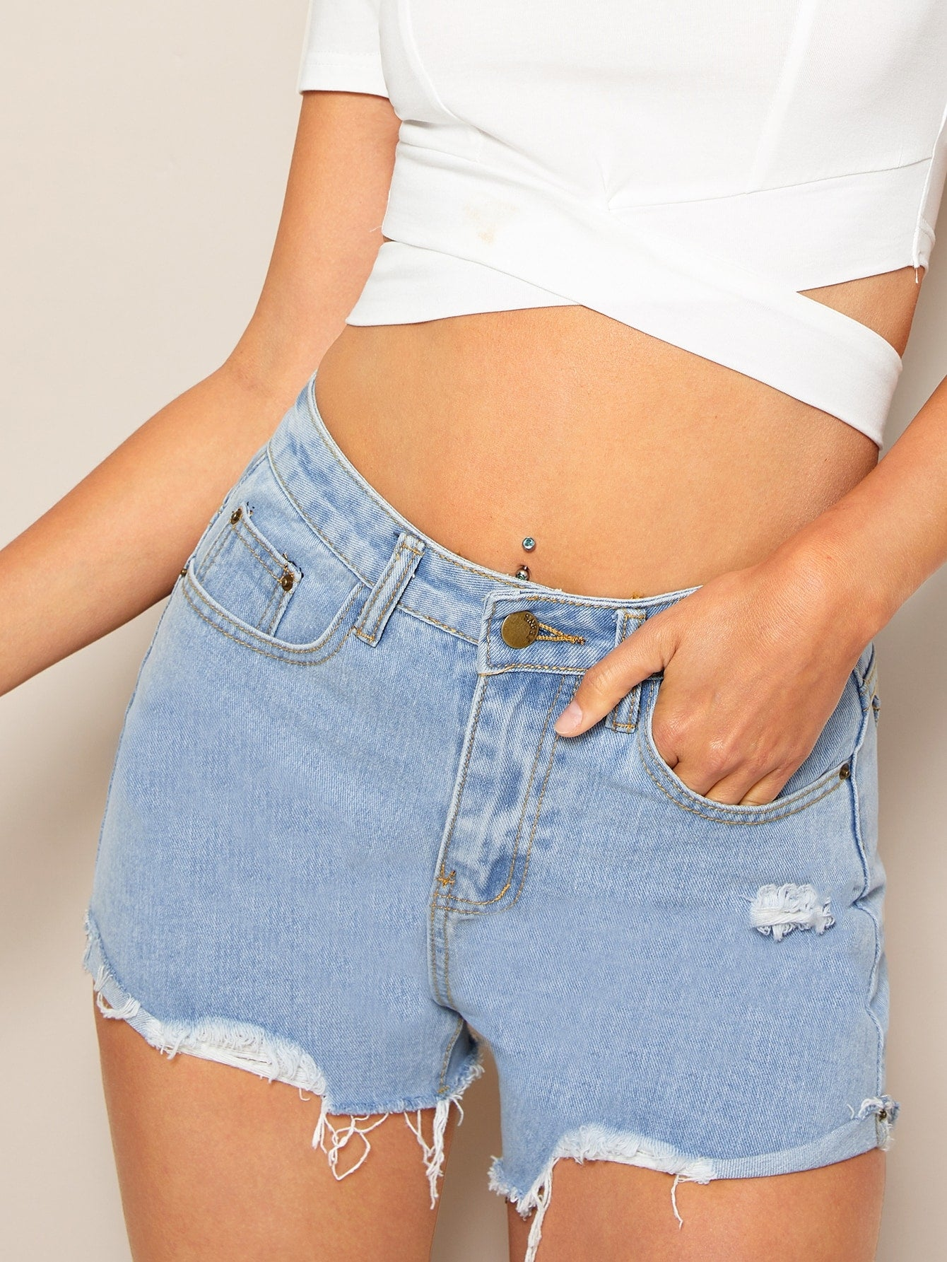 Ripped Raw Hem Denim Shorts