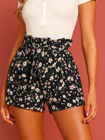 Tie Waist Floral Print Paperbag Shorts
